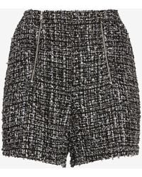 Express Super High Waisted Double Zipper Tweed Shorts Black And White