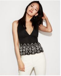Express - Petite Embroidered Cotton Peplum Tank - Lyst
