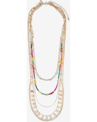 Express Multi-layered Seed Bead Necklace - Metallic