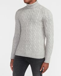 Express Cable Knit Turtleneck Sweater - Gray