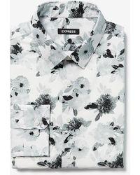 Express Extra Slim Floral Cotton Dress Shirt - White