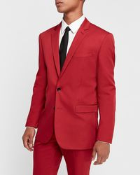 Express Slim Red Cotton Sateen Stretch Suit Jacket Red 36 Short