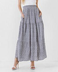 Express English Factory Floral Maxi Skirt Blue Xs