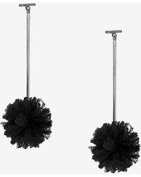 Express Tuleste Lace Pom Pom T Bar Earrings - Black