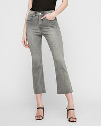 Express High Waisted Faded Black Cropped Flare Jeans