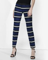 Express Low Rise Striped Editor Ankle Pant - Blue