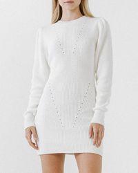 Express Endless Rose Jumper Mini Dress White M