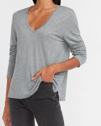 Express Relaxed Long Sleeve V-neck Tee Grey