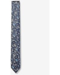 Express Skinny Woven Floral Tie Blue