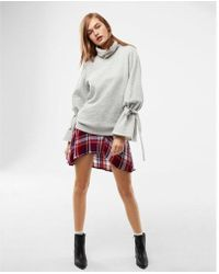 Express - Heathered Tie Sleeve Funnel Neck Sweatshirt - Lyst