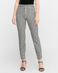 Express High Waisted Gingham Ankle Pant Black And White 00 Short