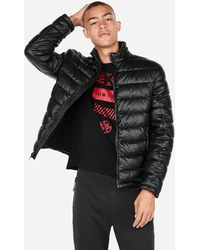 Express Faux Leather Puffer Jacket Black