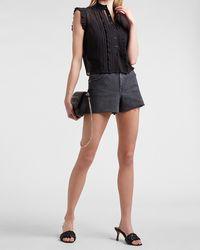 Express Cropped Ruffle Shirt Black Xxs