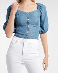 Express Fitted Denim Puff Sleeve Shirt Light Wash - Blue