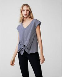 Express - Striped Knot Front Top - Lyst