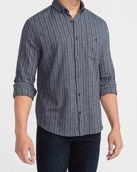 Express Slim Striped Stretch Flannel Shirt - Blue