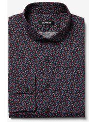 Express Classic Floral Print Dress Shirt Red S
