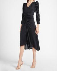 Express Ruched Long Sleeve Midi Dress Black S