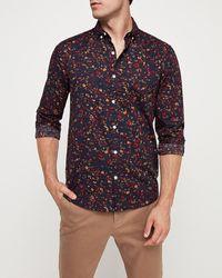 Express Slim Floral Button-down Shirt Blue M