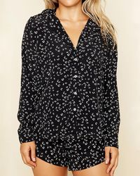 Express Dippin' Daisy's Long Sleeve Sleep Shirt Animal Print L - Black