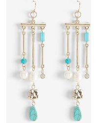 Express Pearl And Turquoise Chandelier Earrings Turquoise - Blue