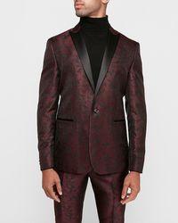 Express Slim Burgundy Paisley Jacquard Tuxedo Jacket Red 36 Short
