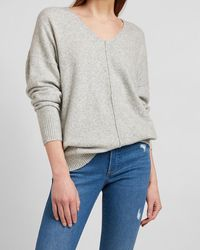 Express Seamed Front Oversized Tunic Sweater Grey Xs