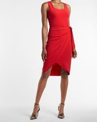 Express Square Neck Wrap Dress Red Xs