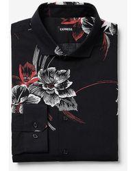 Express Slim Large Floral Print Dress Shirt Black