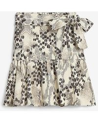 Express High Waisted Animal Print Tie Front Skort - Multicolour