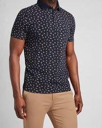 Express Floral Moisture-wicking Performance Polo - Blue