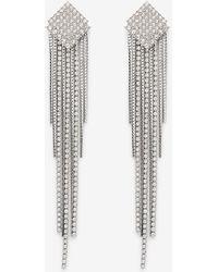 Express Diamond Post Rhinestone Chain Drop Earrings Silver - Metallic