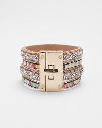 Express Stripe Stone Turnlock Cuff Bracelet Multi - Metallic
