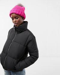Express Zip Front Short Puffer Coat Black
