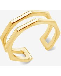 Express Sterling Forever Geometric Open Band Ring Metallic Gold
