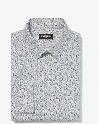 Express Slim Floral Luxe Comfort Knit Dress Shirt - White