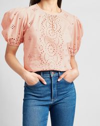 Express Embroidered Eyelet Lace Puff Sleeve Top Pink L