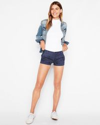 Express - Low Rise Floral Studded Blue Twill Shorts Blue - Lyst