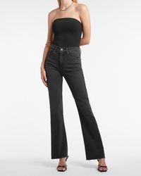 Express High Waisted Black Raw Hem Bootcut Jeans, Size:00