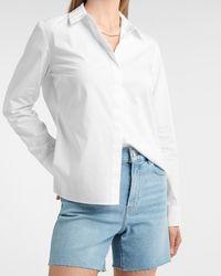Express Essential Long Sleeve Button-up Portofino Shirt White