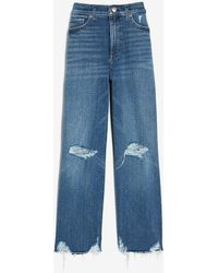 Express High Waisted Ripped Raw Hem Cropped Wide Leg Palazzo Jeans, Size:0 - Blue