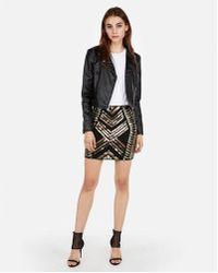 Express - High Waisted Sequin Mini Skirt - Lyst