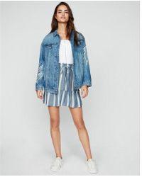 Express - Striped Ruffle Sash Tie Mini Skirt - Lyst