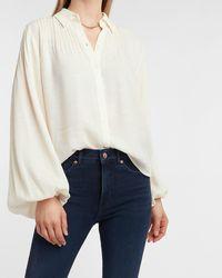 Express Pintuck Balloon Sleeve Shirt Swan - Multicolour