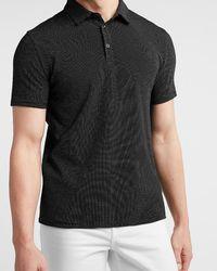 Express Dot Print Jacquard Short Sleeve Polo - Black