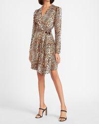 Express Leopard Puff Sleeve Wrap Dress Print - Multicolour