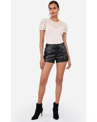 Express Mid Rise Faux Leather Pleated Shorts Black