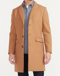 Express X You Camel Wool-blend Topcoat Brown Xs