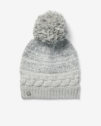Express - Cable Knit Feathered Pom Beanie - Lyst