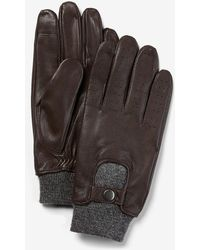 Express Genuine Leather Touchscreen Compatible Gloves - Brown